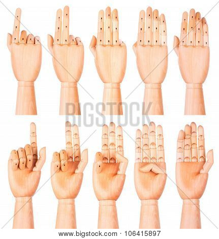 Counting wooden hands 1 to 5