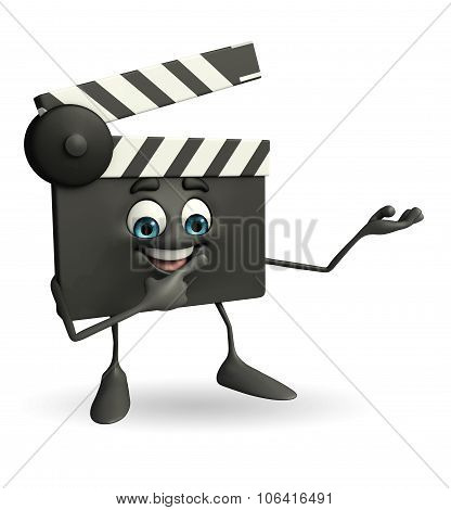 Clapper Board Character With Holding Pose