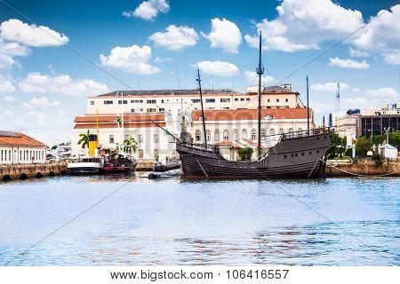 Navy Cultural building and  harbour (Espaco Cultural da Marinha) in Centre of Rio de Janeiro,  Brazil.