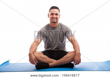 Happy Young Man In Yoga Class
