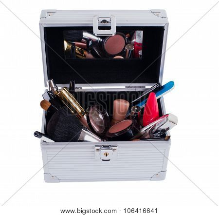 Decorative Cosmetics In Makeup Box Isolated On White Backgroung
