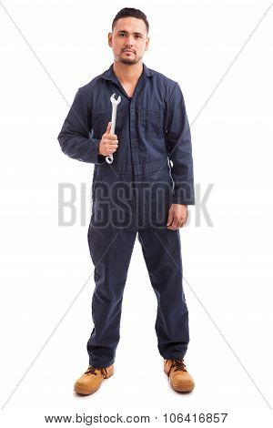 Confident Mechanic With A Wrench