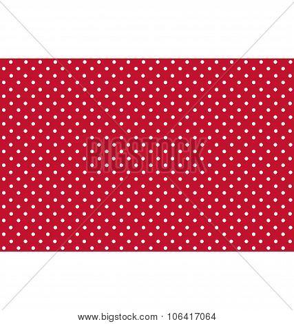 Seamless Dot Pattern. White Dots on Red