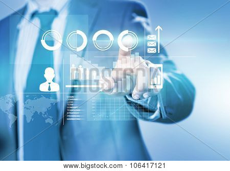 Man working with virtual panel