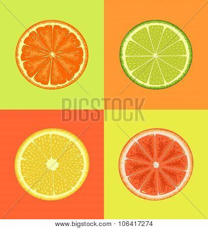Four Citrus on different colors backgrounds