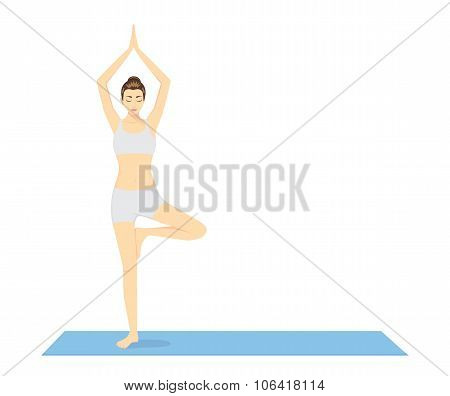 Woman beginning in Yoga with Tree