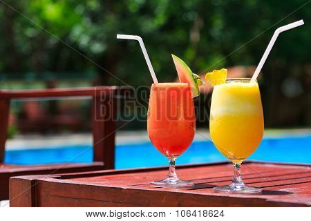 Fresh Juice Cocktails Near The Pool