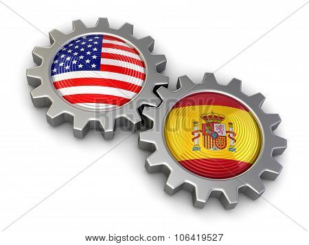 USA and Spanish flags on a gears (clipping path included)