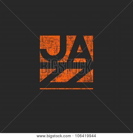 Musical Jazz Lettering Emblem For Music Festival Poster, Design Element Print T-shirt