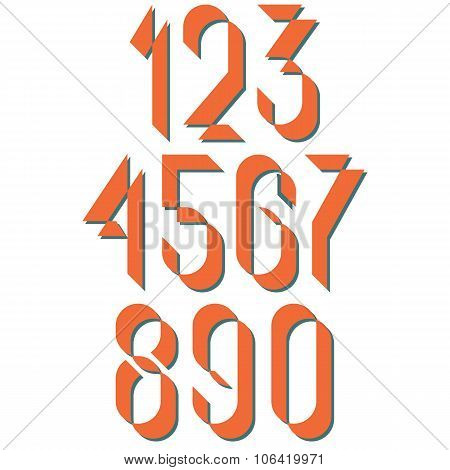 Numerals Old Style, Set Numbers Retro Poster Or Card, Mockup Design Elements For Vintage Wedding Inv