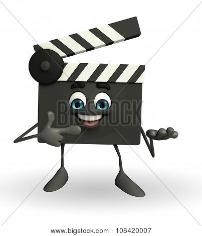 Clapper Board Character With Pointing Pose