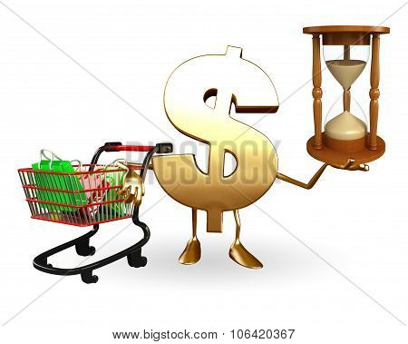 Dollar Character With Sand Clock And Trolley