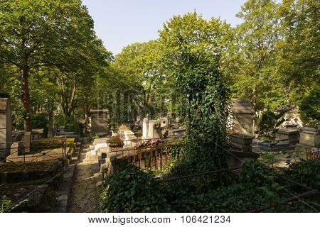A view of the Pere Lachaise Cemetery, the largest cemetery in the city of Paris