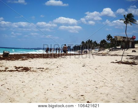 People Enjoying A Tropical Beach