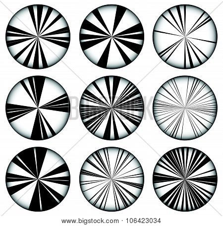 Vector Set Of Radiating, Converging Lines. Set Of 9 Version,