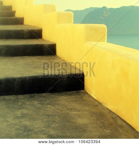 Beautiful Steps And Aegean Sea In Oia, Santorini, Greece