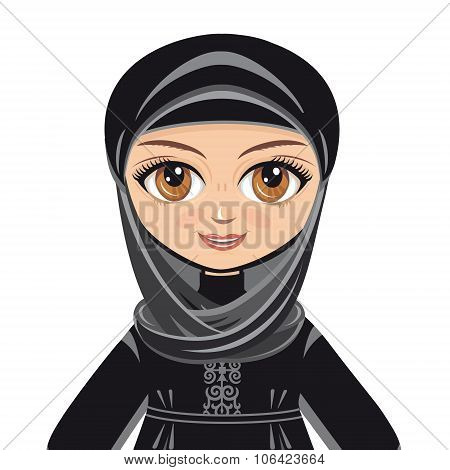 The doll in Muslim dress. Portrait. Avatar.