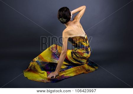 Fashion Model in Yellow Dress