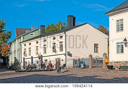 Porvoo. Finland. People in the cafe in The Old Town