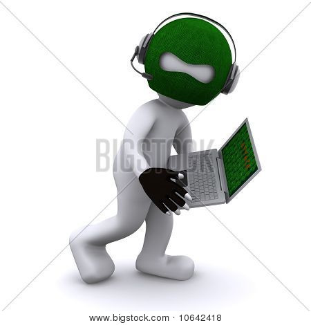 Cartoon Hacker With Laptop