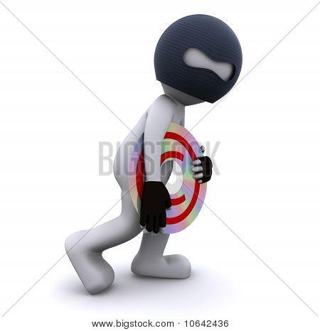 Personagens 3D, roubando o conceito de pirataria de dados de CD.