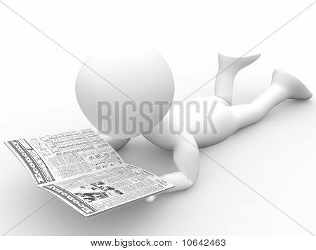 3D human reading the newspaper lying