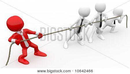 3D menschlichen ein Seil ziehen