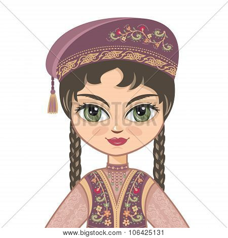 The girl in  Tatar dress. Portrait. Avatar.