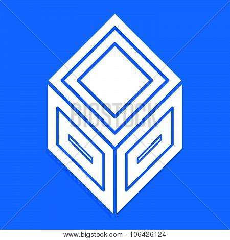 3D Abstract Cube Symbol, Icon. Vector Illustration.