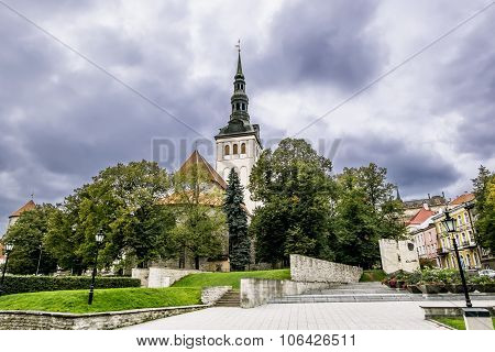The Cathedral Of St Nicholas Church In The Old Town Of Tallinn