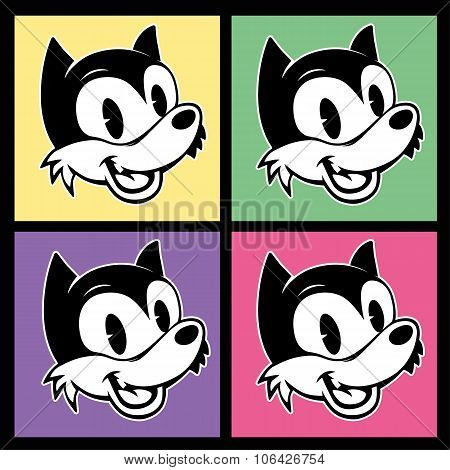 vintage toons. four images of retro cartoon character smiley woolf on the colorful background