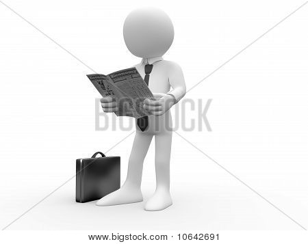 3d human reading the newspaper with his briefcase on the floor and a shirt and tie