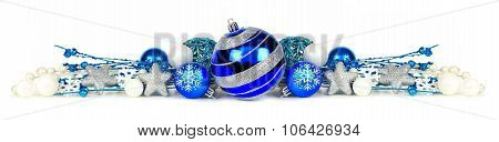 Blue and silver Christmas ornament border over white