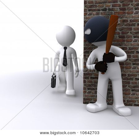 Bandit Robbing A Businessman