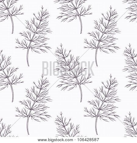 Hand drawn dill branch outline seamless pattern
