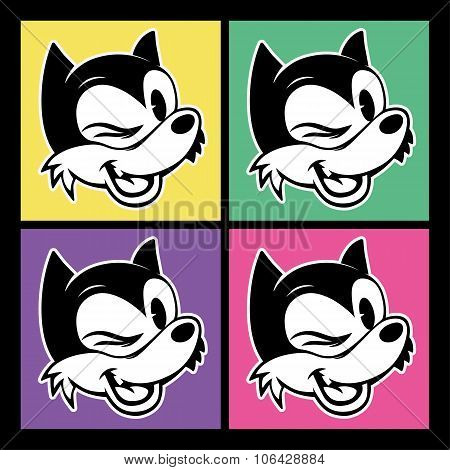 vintage toons. four images of retro cartoon character smiley and winks woolf on the colorful backgro