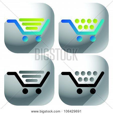 Shopping cart icons, symbols. Set of 2 version.
