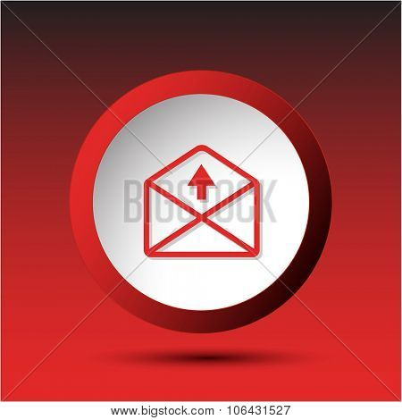 mail up arrow. Plastic button. Raster illustration.
