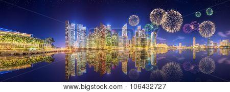 Beautiful fireworks in Marina Bay, Singapore