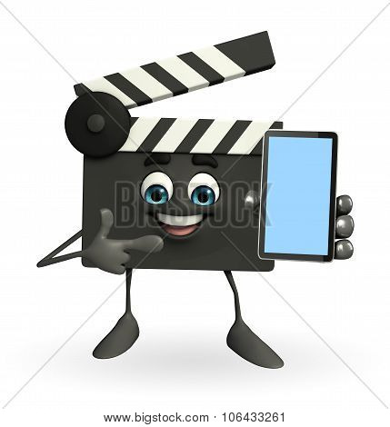 Clapper Board Character With Mobile