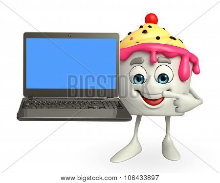 Ice Cream Character With Laptop
