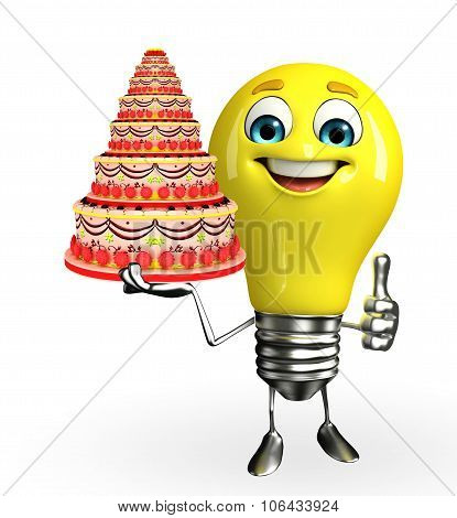 Light Bulb Character With Cake