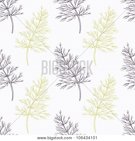 Hand drawn dill branch stylized black and green seamless pattern