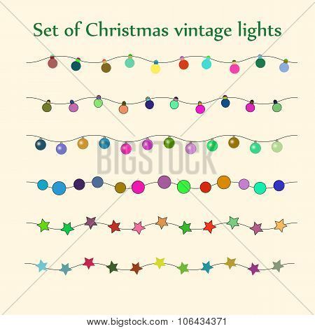 Christmas string lights. Vector set.