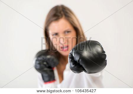 Boxing Businesswoman