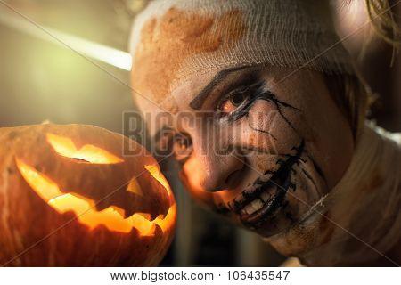 Horrible girl with her boyfriend, zombie halloween theme