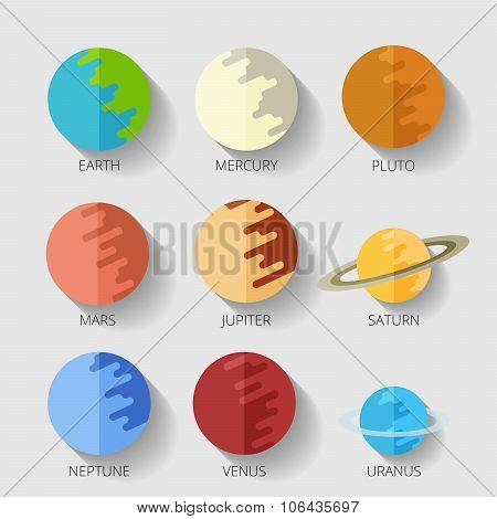 set planets solar system. cartoon style flat icon Raster copy