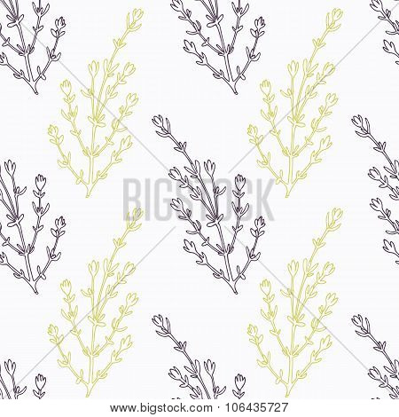 Hand drawn thyme branch stylized black and green seamless pattern