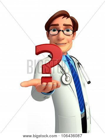 Young Doctor With Question Mark