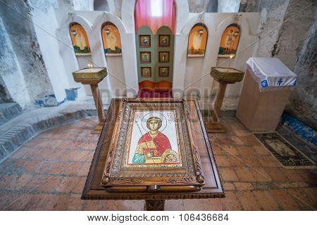 Uplistsikhe, Georgia - July 21, 2015: inside the Christian Basilica in ancient rock-hewn town called Uplistsikhe